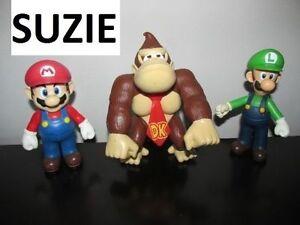 3 Figurines **Donkey Kong Luigi et Mario Bros**...12 à 15cm
