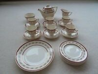 Beautiful Vintage 1950's Wedgwood & Co Ltd Cream, Gold & Burgundy Afternoon Tea Service