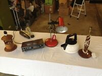 Assorted items including three table lamps and a clock/radio