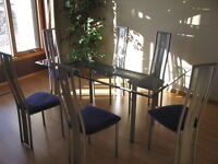 Glass Table & 6 Chairs (7pc) 66 in L x 38 in W x 29 in H