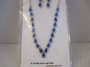 Royal Blue Jewelry Set Christina Collection Earrings & Necklace