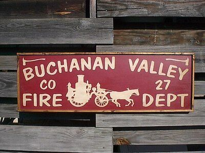 "PERSONALIZED FIRE DEPARTMENT STATION NAME RUSTIC VINTAGE DECOR WOOD SIGN 36""x12"""