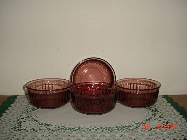 """4-PC PURPLE-AMETHYST GLASS 5"""" SOUP-SERVING BOWLS/MEXICO/STAMPED/FREE SHIP!"""
