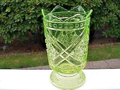 Gorgeous! Antique Pedestal Celery Vase Vaseline Daisy & Button Crossbars Mikado