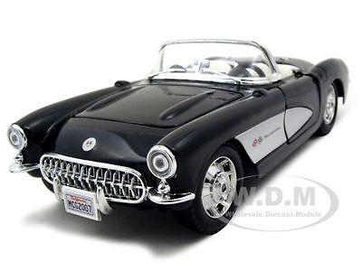1957 CHEVROLET CORVETTE BLACK 1:24 DIECAST MODEL CAR BY MAISTO 31275