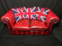 Santa Sofa Oxblood Red leather Chesterfield 2 Seater