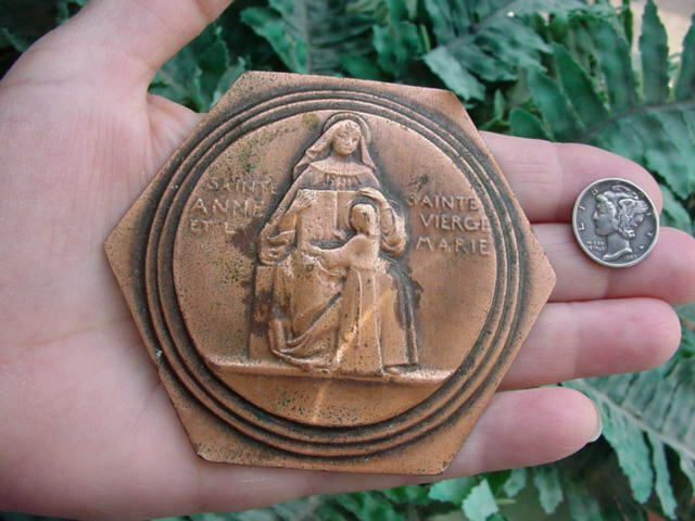 Vintage ALBERT GILLES copper repousse relief - Saint Anne Virgin Mary - Catholic