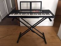 YAMAHA PSR-F50 Portable Keyboard (black, slightly used); With adjustable stand