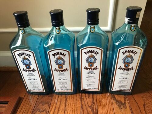 Set Of 24 Bombay Sapphire Dry Gin Empty Bottle with Caps 1.75L Sapphire Blue