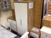 NEW White gloss bedroom set Wardrobe, Chest of drawers & Bedside £199 in stock now