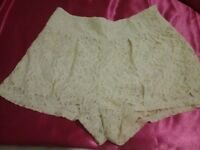 Beige colour lace shorts by Forever 21....... £3