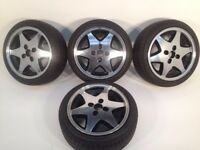 "RIAL 4X100, 15"", 6.5J. Deep dish alloy wheels, MINT CONDITION, Polished, NEW tyres"