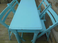 shabby chic distressed table & chairs, for the small spaces.