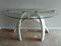 Sofa table with 4 marble legs and tempered glass top