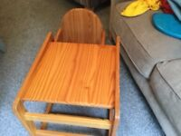 Wooden Highchair/toddler table