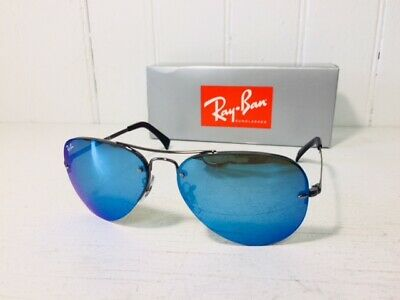 RAY-BAN RB3449 004/55 AVIATOR Gunmetal w/Blue Mirror 59mm Lenses Sunglasses (Ray Ban Aviator Color Lenses)