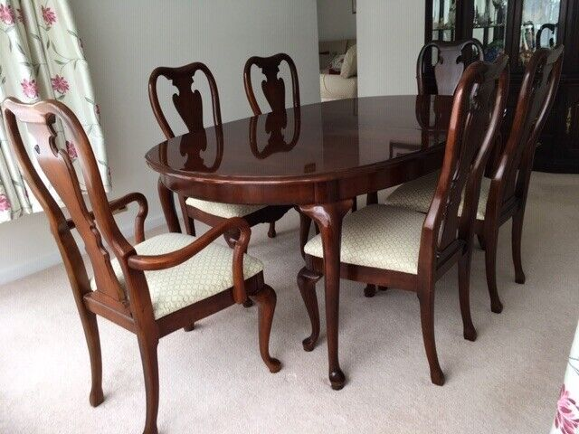 Prime American Cherry Dining Table With 6 Chairs Extensions Plus Matching China Cabinet In Redbourn Hertfordshire Gumtree Download Free Architecture Designs Rallybritishbridgeorg