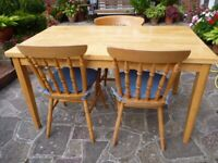 Solid Beech Dining Table & 3 Chairs