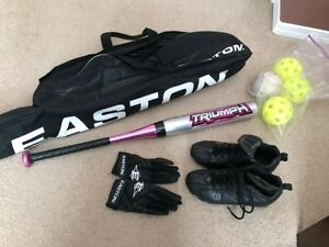 Kids Ball PACKAGE all together -bat, cleats, gloves, bag, balls