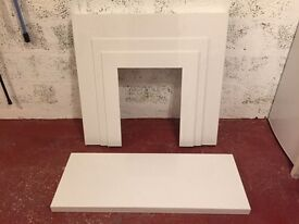 White Composite Marble Fireplace and Hearth