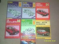 Haynes Car Manuals, various from 60's, 70's and 80's. Maintenance and repair.