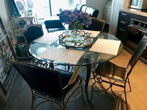 Modern Glass and Wrought Iron Dining Table
