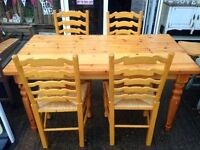 Farmhouse Country Style Pine Dinning Table With 4x Chairs - LOCAL FREE DELIVERY