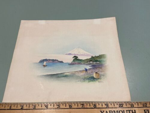 19th century Japanese Watercolor Painting Signed Kaho / Kano Mt. Fuji village