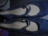 Jones Bootmaker - Mary Jane - Dark Blue Suede Shoes - Used, in Good Cond.