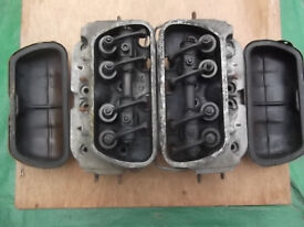 2x Classic VW air cooled cylinder heads 1300, complete with valves rockers and covers in VGC, cheap!