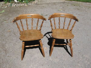 A PAIR OF HARDWOOD MAPLE CHAIRS FOR SALE