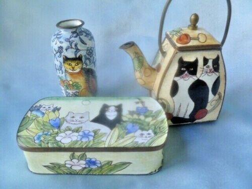 Lot of 3 Vintage EMPRESS ARTS Mini Enameled Metal Teapot, Bud Vase, Box - CATS