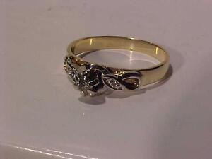 #882-14K YELLOW /WHITE Gold ANTIQUE ENGAGEMENT RING-SIZE 9 3/8-PRETTY RING-FREE LAYAWAY for CHRISTMAS--