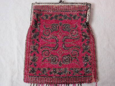 Antique Victorian Red Metallic Micro Beaded Purse Silver Plate Aesthetic Frame