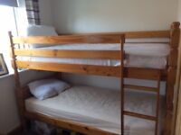 Pine Bunkbeds 3`x6` VGC with mattresses VGC hardly used, collection only will help with dismantling