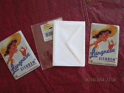 2 lot vintage magnet LANGNESE EISKREM with envelope Made in Germany Berlin - 2 Tin Envelopes