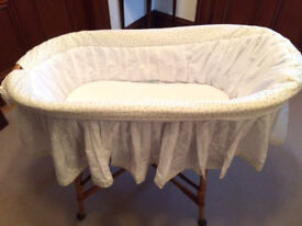 Wicker basket cot with loads of extras