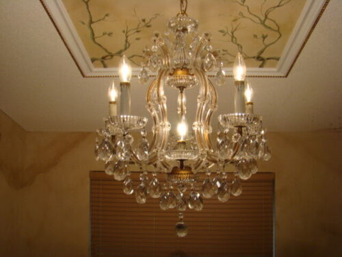 GREAT OLD 50s GLASS CRYSTAL ITALIAN VENETIAN AUTHENTIC MARIA THERESA CHANDELIER