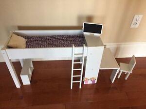 "Journey Girl Loft Bed with desk for 18"" Dolls"