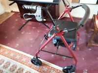 """Drive Rollator Red 6"""" wheels walking frame mobility aid seat folding"""