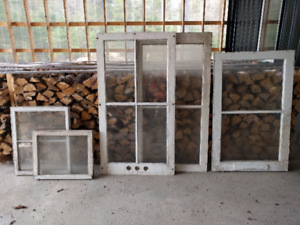6 old wooden windows, price ea.