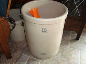 EARLY LARGE SIZE 15 GAL IMPERIAL MEDALTA STONEWARE CROCK