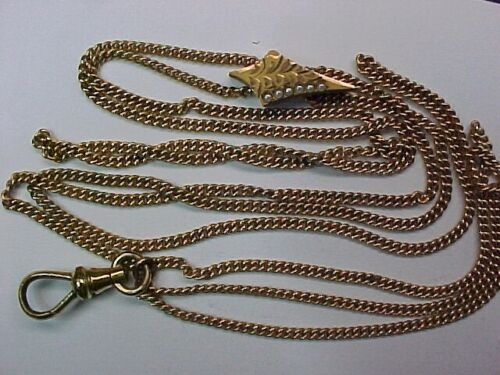 Vintage Yellow Gold Filled and Seed Pearl Slide Watch Chain