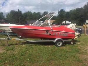 2005 17' WAKEBOARD BOAT WITH TOWER AND TRAILER 115HP!