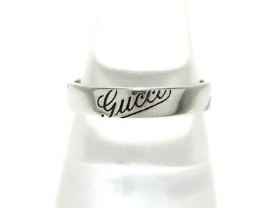 Auth GUCCI 18K White Gold Ring US #9