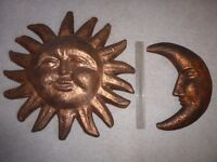 Large Sun and Moon wall or ceiling hanging decorations. Sun approx 54 cm dia and moon 40 cm high