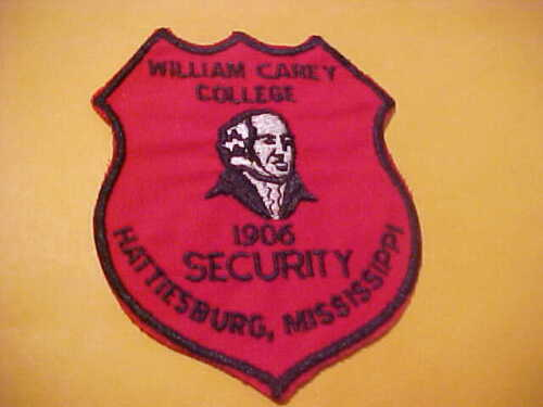 MISSISSIPPI WILLIAM CAREY COLLEGE  POLICE PATCH SHOULDER SIZE UNUSED