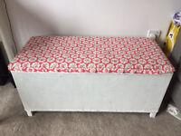 Lloyd Loom style blanket box with Cath Kidston fabric finish