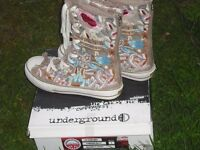 Underground Canvas Embroidered Boots - Size 40-41