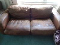 John Lewis Monaco brown aniline leather sofa 2/3 seater
